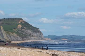 The stunning Jurassic Coast is a short drive away. This is the beach at Charmouth.