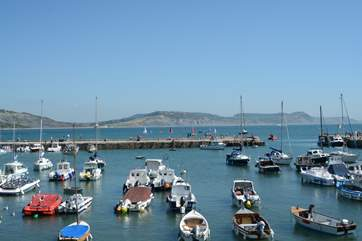 This is the harbour at Lyme Regis with the Jurassic Coast stretching away into the distance.