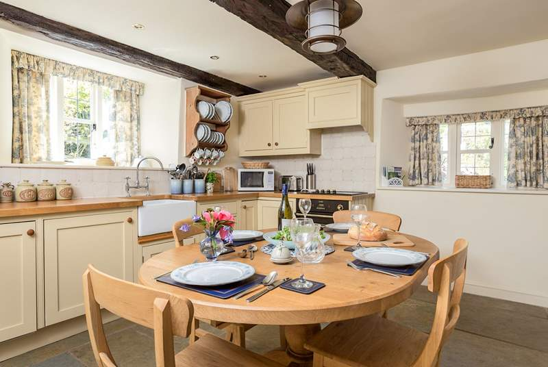 The kitchen is fitted as a true home-from-home, exceptionally well-equipped.