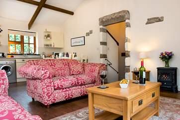 The spacious open plan living area