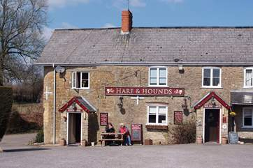 The local pub is at Waytown, approximately one  mile from the cottage along a country lane or a 15 minute walk across fields. There is a lovely beer garden with amazing views.
