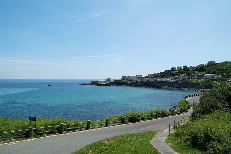 A view of Coverack from the road leading down into the village.
