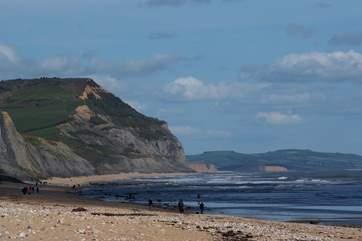 Charmouth is the next beach to Lyme Regis - famous for its fossils.