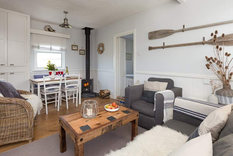 There is such a stylish but cosy interior at this cottage, with the bonus of a wood burning stove for out of season holidays here.