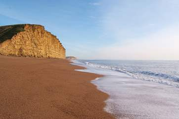 The stunning cliffs at West Bay, Bridport - just a few miles to the east of Doghouse Farm.