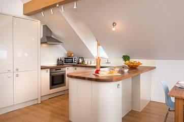 The modern kitchen area