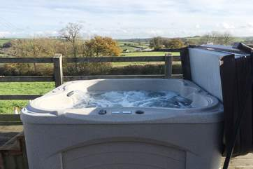 Take some time out in the bubbling hot tub.
