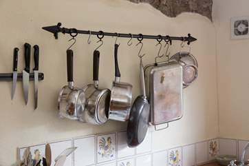 Pots and pans in the kitchen.