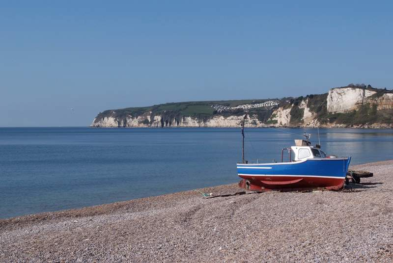 Seaton is the nearest coastal town to the cottage, where the river Axe reaches the sea.
