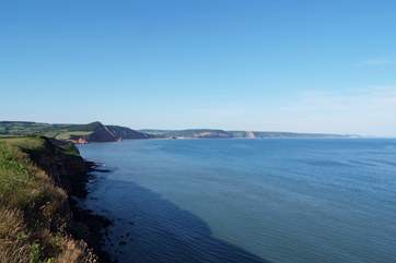 This is a view along the east Devon Jurassic Coast - stunning views and a string of lovely coastal towns and villages.