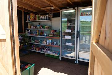 The on-site honesty shop just behind the tents is stocked full of goodies for your stay.