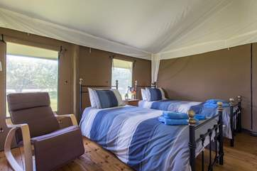 The twin bedroom is also at the back of the tent.