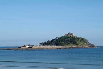 The beautiful St Michael's Mount which sits opposite the golden sands of Marazion beach is a short drive away (six miles).