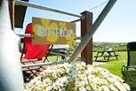 Buttercup's picnic bench - a great place to enjoy a sunny morning breakfast.