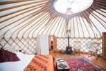 Looking towards the double doors leading to the baby yurt.