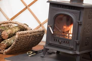 The wood-burner will keep you toasty on cooler days (logs are provided).