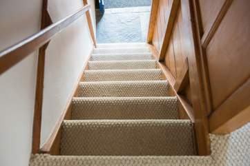 The tradionally steep cottage stairs - mind your head on the way down!