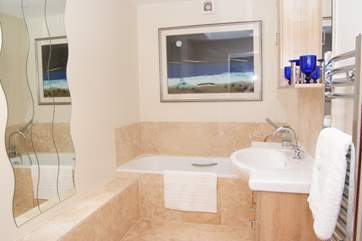 A brand new family bathroom has been created on the main floor of this house - it is just off the entrance hallway as you come in.