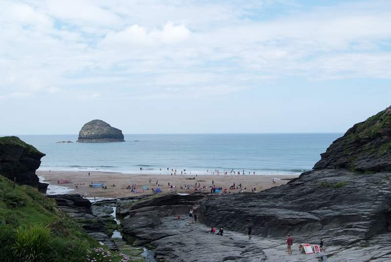 Trebarwith is a wonderful beach at low tide. At high tide it is a great place to fish or surf.