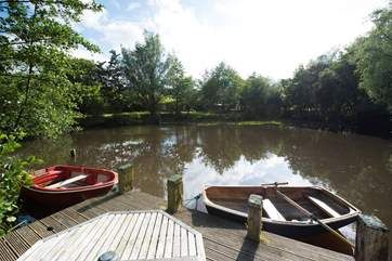 The lily filled lake, complete with rowing boats - try your hand at fishing or just enjoy being on the water.