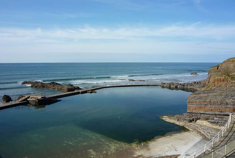 The open-air salt-water tidal pool on one of the beaches at Bude - great for the children in the summer.