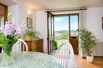 At mealtimes you can enjoy the view over open countryside.