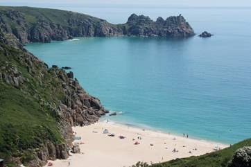 Stunning Porthcurno beach is only four miles away.