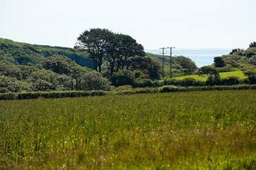 A lovely picnic spot just across the farm lane provides you with the most beautiful views of the coast.