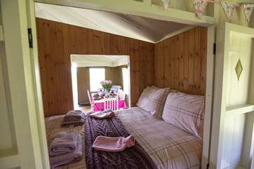 Looking into Foxglove's double cabin bed - with access on both sides (one side into the living-area and the other into the twin bedroom).