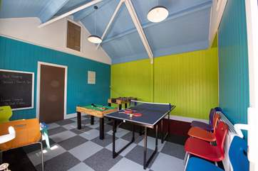 The games-room is bright and colourful.