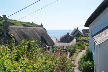 The coast path takes you all the way down to the beach and the pub!