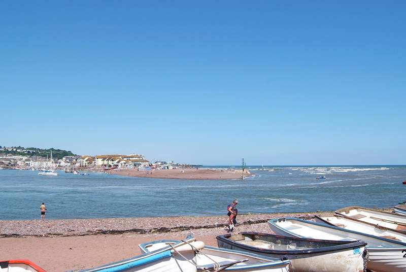 Shaldon beach, a stone's throw from the cottage, and the estuary, with Teignmouth opposite.