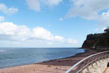Shaldon beach with Ness Head in the background.