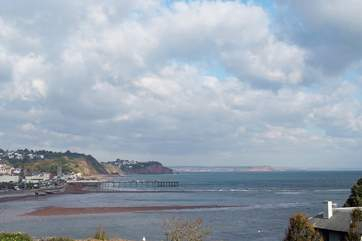 The view of Teignmouth and looking east from the top of Ness Head above Shaldon.
