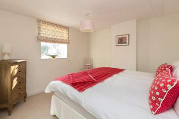 This is the third bedroom, overlooking the garden at the back of the cottage.  This bedroom can be made up as twins at your request.
