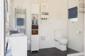 Inside the 'beach hut' is a very spacious and fully equipped shower-room including a heated towel rail and hair-dryer.
