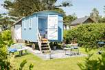 The 'beach hut' spacious shower-room sits just behind Forget-Me-Not with Mr Blue Sky next door, the high hedge between ensures privacy for all.