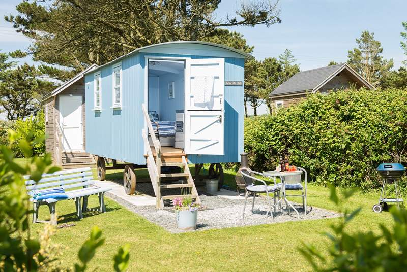 The 'beach hut' spacious shower-room sits just behind Forget-Me-Not with Mr Blue Sky next door, the hedge between ensures privacy for all.