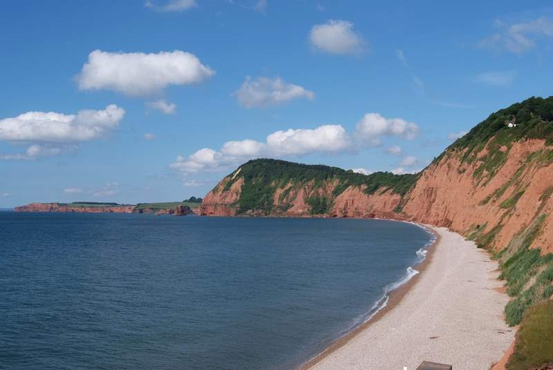 The World Heritage Jurassic Coast starts in east Devon - this is the beach at the western end of Sidmouth. There is sand at low tide!
