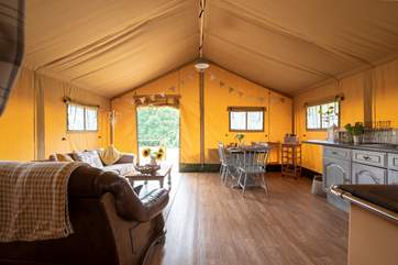 Looking from the bedroom areas to the front of the tent.