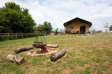 The fire-pit barbecue is perfect for cooking up a yummy supper or toasting marshmallows under the stars.
