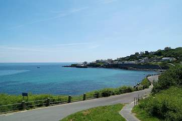 The view of Coverack bay as you enter the village from the Lizard.