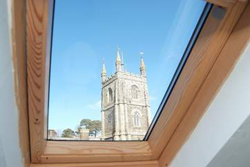 The view of the church from the rooflight in the bathroom.