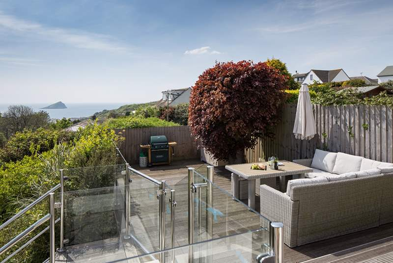 What a fabulous view from the decked patio, straight out to sea.