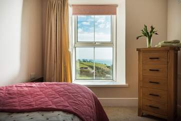 The single bedroom shares those amazing views.