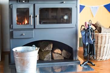 The log-fired range has plenty of oven space.
