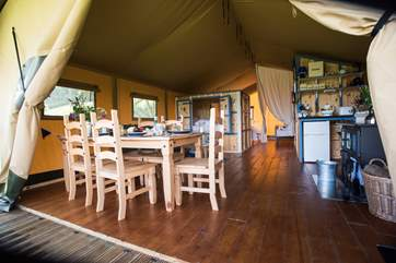 Step inside this spacious safari tent.