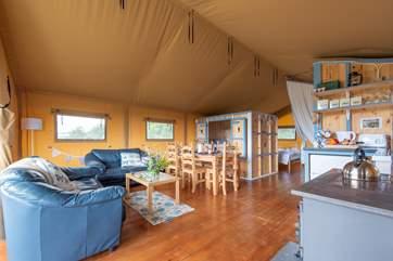 Step inside this spacious safari tent.
