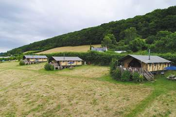 The ultimate glamping getaway! Celandine is the middle tent but there is plenty of space between the tents.