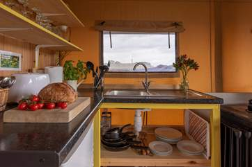 The kitchen is equipped for all of your glamping holiday needs.